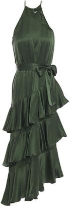 Zimmermann Asymmetric Tiered Washed-silk Midi Dress