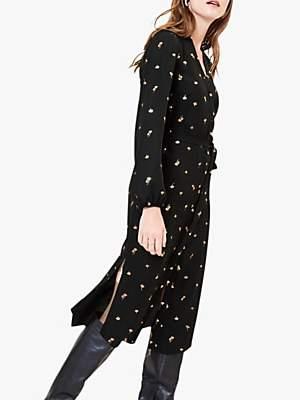 Oasis Foil Petal Dress, Black