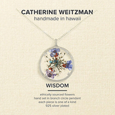 Catherine Weitzman Large Wisdom Flower Round Pendant Necklace, Silver/Multi