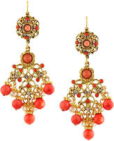 Jose & Maria Barrera Coral-Hued Filigree Chandelier Earrings, Multi