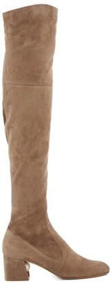 Nicholas Kirkwood Miri Faux Pearl-embellished Suede Knee-high Boots - Womens - Khaki