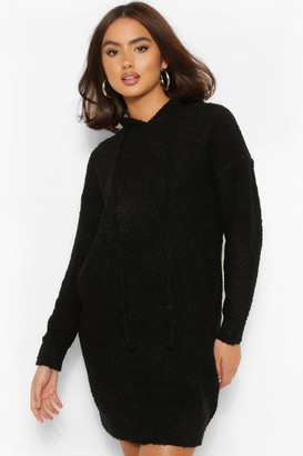 boohoo Textured Knit Hoody Jumper Dress