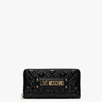 Love Moschino Quilted Black Zip Around Wallet