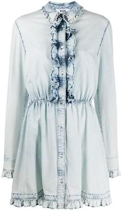 MSGM Bleached Effect Denim Mini Dress