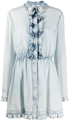 MSGM bleached effect denim mini dress