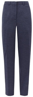 Burberry Lucy High-rise Wool-blend Straight-leg Trousers - Womens - Grey
