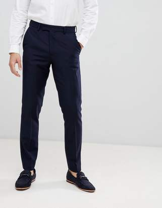 French Connection Slim Fit Peak Collar Tuxedo Pants-Navy