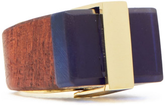 Noir 14-karat Gold-plated, Resin And Wood Ring