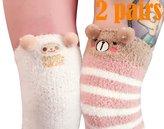 LittleForBig Cute Animal Coral Fleece Thigh High Long Striped Socks 2 Pairs