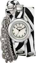 XOXO Women's XO5623 Zebra Patterned Band with Chains Accent Double Wrap Watch