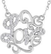 FINE JEWELRY 1/10 CT. T.W. Diamond Sterling Silver Love Script Necklace