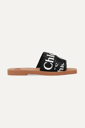 Chloé Woody Logo-print Canvas Slides - Black