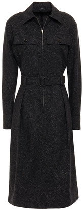 Joseph Belted Donegal Wool-blend Midi Shirt Dress