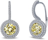 Lafonn Micro Pave White & Canary Simulated Diamond Round Halo Earrings