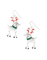Carole Silvertone Reindeer Drop Earrings