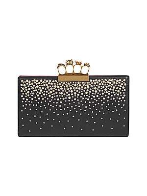 Alexander McQueen Women's Skull Four-Ring Studded Leather Flat Pouch