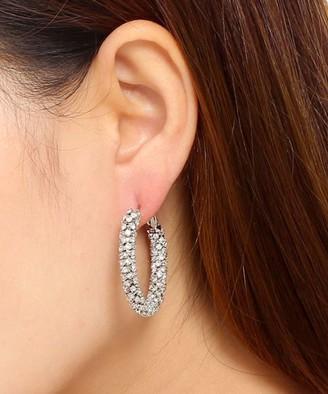 Amrita Singh Women's Earrings Silver - Silvertone & Crystal Studded Hoop Earrings