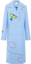 Mira Mikati Fly Away Rocket Appliquéd Wool-blend Coat - Blue