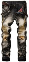 Yollmart Men's Slim Ripped Jeans Straight Leg Pants with Embroidery wings-tag 32