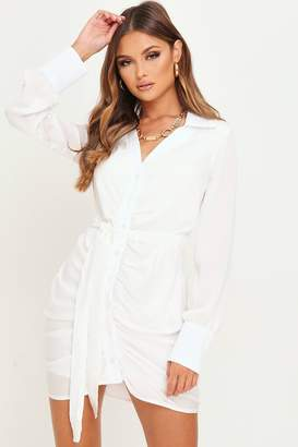 I SAW IT FIRST White Ruched Front Satin Shirt Dress