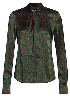 Victoria Beckham Fitted Silk Tieneck Top