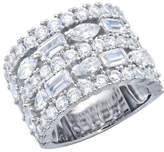 Crislu Le Tiara Platinum Over Silver Cz Ring