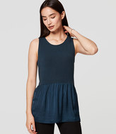LOFT Petite Mixed Media Peplum Tank