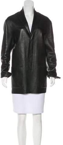 DKNY Leather Short Coat