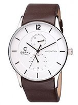 Obaku Denmark Men's Quartz Watch V157GMCIRN with Leather Strap