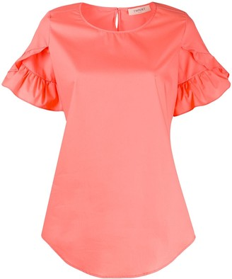 Twin-Set Ruffle Sleeve Curved Hem Blouse