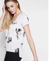 Express floral print step hem short sleeve blouse