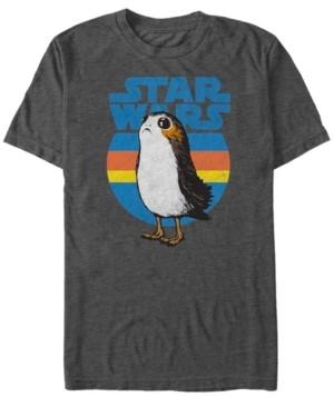Fifth Sun Men's Star Wars Last Jedi Porg Retro Stripes Logo Short Sleeve T-shirt
