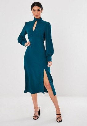 Missguided Teal High Neck Keyhole Puff Sleeve Midi Dress