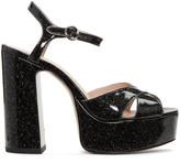 Marc Jacobs Black Glitter Lust Platform Sandals