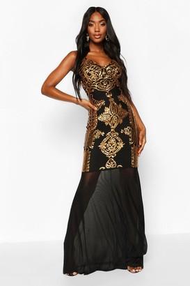 boohoo Sequin Demask Plunge Mesh Fishtail Maxi Dress