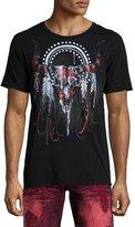 Robin's Jeans Embellished Longhorn Skull T-Shirt, Black