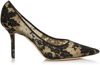 Jimmy Choo LOVE 85 Black Floral Lace Pointy Toe Pumps