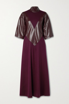 Roksanda Erdea Wool-jersey And Vegan Leather Turtleneck Dress - Burgundy