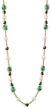 MARINA B 8MM Pearl Multi Stone and18K Yellow Gold Necklace
