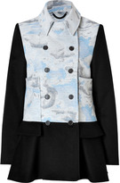 Kenzo Wool-Cashmere Mixed-Media Cloud Print Coat