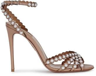 Aquazzura Pearl 105 Embellished Leather Sandals