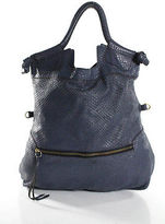 Foley + Corinna Blue Embossed Leather Shoulder Handbag