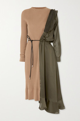 Sacai Paneled Asymmetric Cotton, Satin And Tulle Midi Dress - Beige