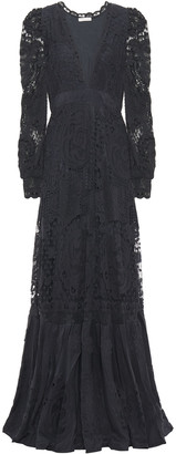 LoveShackFancy Janet Fluted Crocheted Cotton Lace Maxi Dress