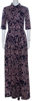 Oscar de la Renta Indigo Floral Printed Stretch Cotton Collared Maxi Dress S
