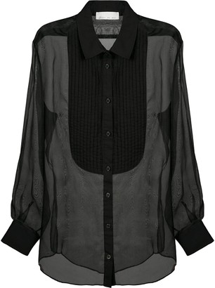 Fleur Du Mal Pleated Bib Sheer Shirt