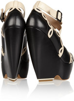 Nicholas Kirkwood Two-tone leather wedge pumps