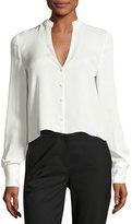 Diane von Furstenberg Cropped Silk Jersey V-Neck Shirt, White
