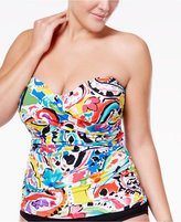 Anne Cole Plus Size Painterly Paisley Strapless Tankini Top