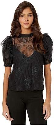Free People Secret Admirer Blouse (Black) Women's Clothing